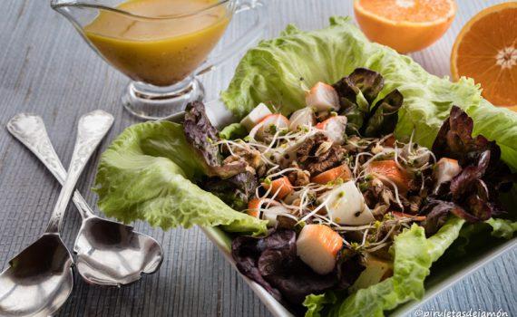 Ensalada verde-Piruletas de jamón-Blog de cocina