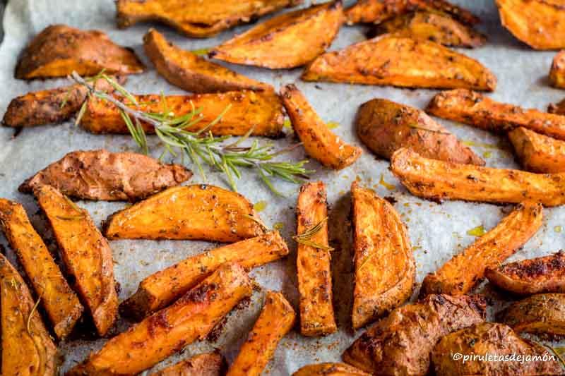Gajos de boniato al horno |Piruletas de jamón- Blog de cocina