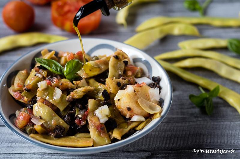 Ensalada de judías |Piruletas de jamón- Blog de cocina