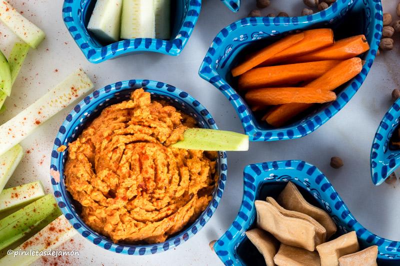 Hummus de pimientos |Piruletas de jamón- Blog de cocina