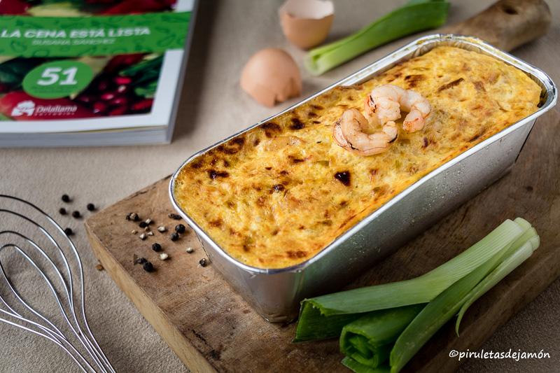 Pastel de puerros y gambas |Piruletas de jamón- Blog de cocina