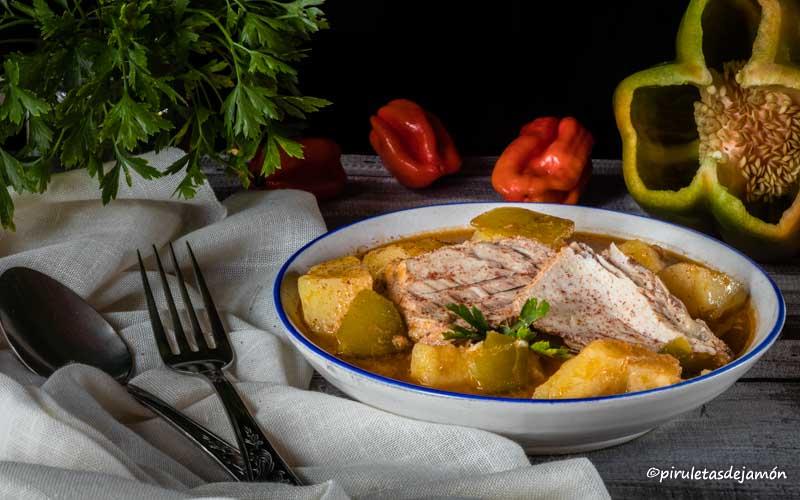 Bonito guisado-Piruletas de jamón- Blog de cocina