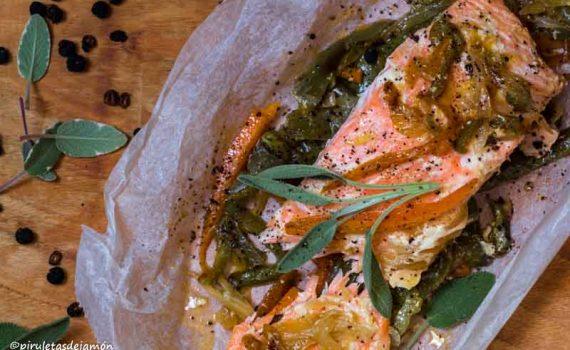Salmón en papillote-Piruletas de jamón- Blog de cocina
