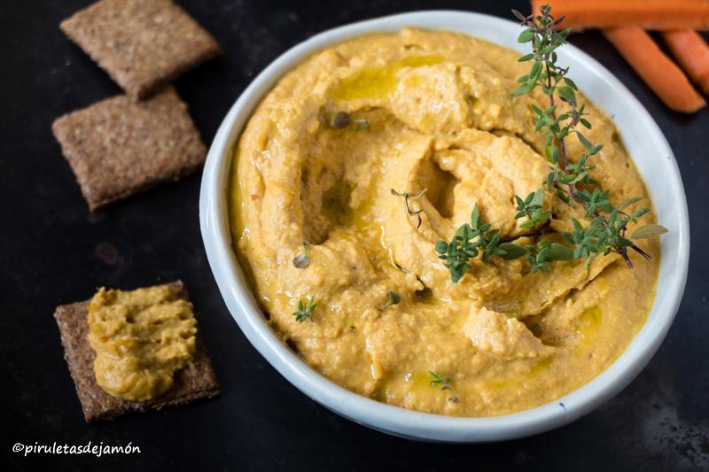 Hummus de zanahoria |Piruletas de jamón- Blog de cocina