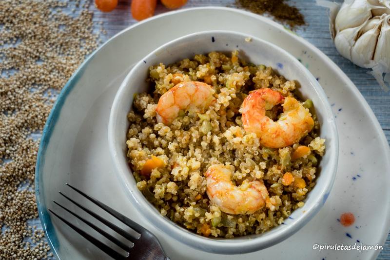 Quinoa con verduras  Piruletas de jamón- Blog de cocina