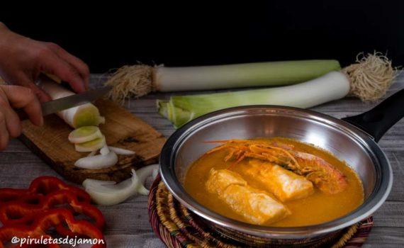 Merluza en salsa de puerros