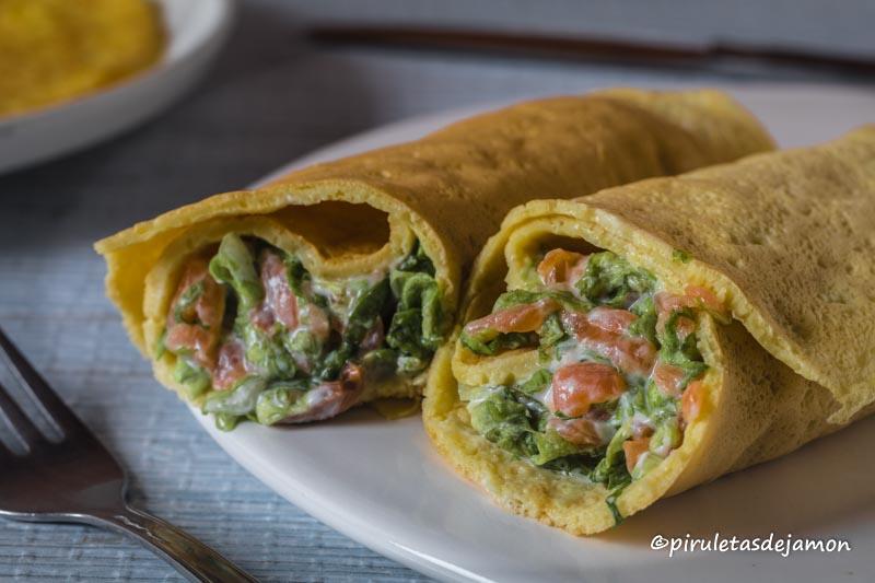 Creps rellenos |Piruletas de jamón- Blog de cocina