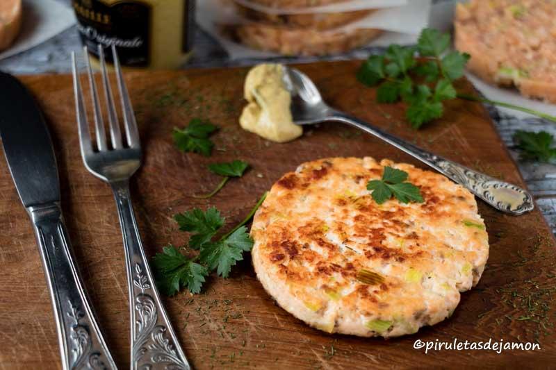 Hamburguesa de salmón   Piruletas de jamón - Blog de cocina